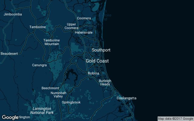 Coverage map for Uber in Gold Coast, Australia
