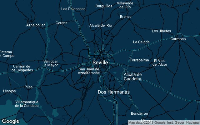Coverage map for Uber in Seville, Spain