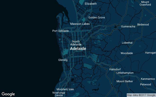 Coverage map for Uber in Adelaide, Australia