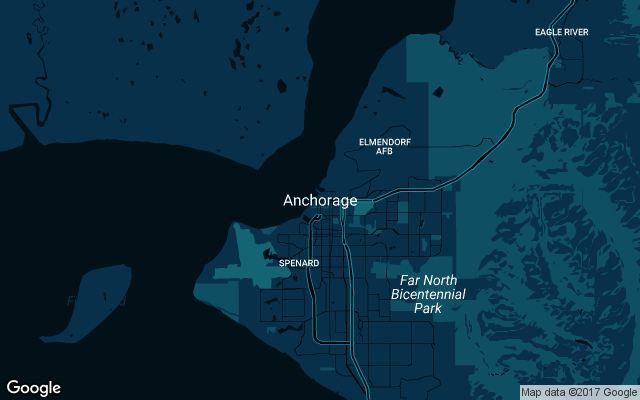 Coverage map for Uber in Anchorage, Alaska