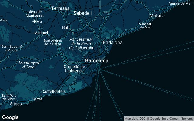 Coverage map for Uber in Barcelona, Spain