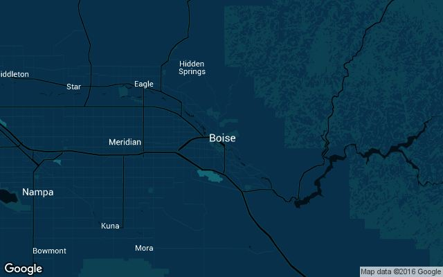 Coverage map for Uber in Boise, Idaho
