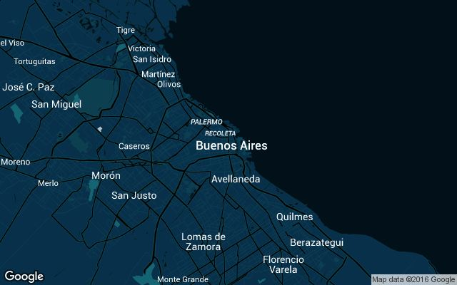 Coverage map for Uber in Buenos Aires, Argentina