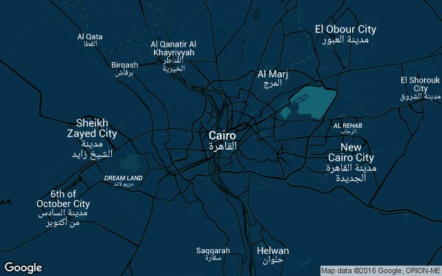 Coverage map for Uber in Cairo, Egypt