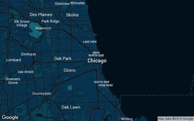 Coverage map for Uber in Chicago, Illinois