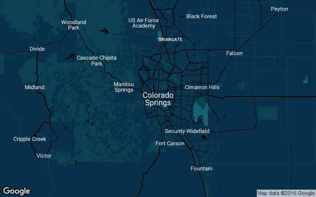 Coverage map for Uber in Colorado Springs, CO