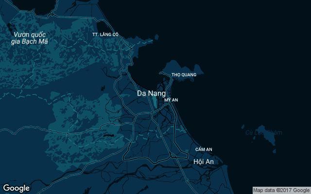 Coverage map for Uber in Da Nang, Vietnam