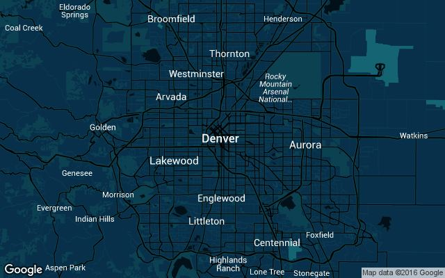 Coverage map for Uber in Denver, Colorado