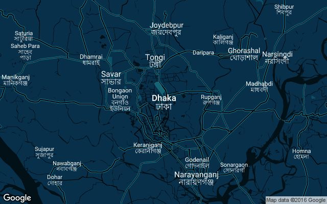 Coverage map for Uber in Dhaka, Bangladesh