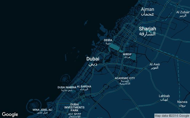 Coverage map for Uber in Dubai, UAE