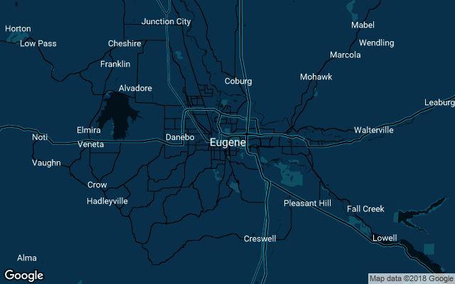 Coverage map for Uber in Eugene, Oregon