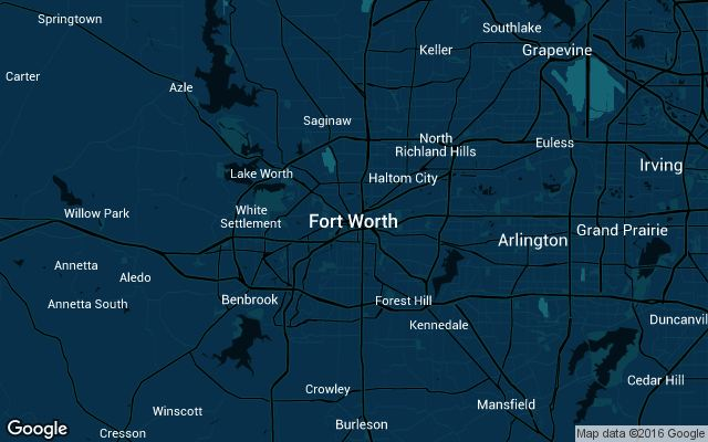 Coverage map for Uber in Fort Worth, Texas