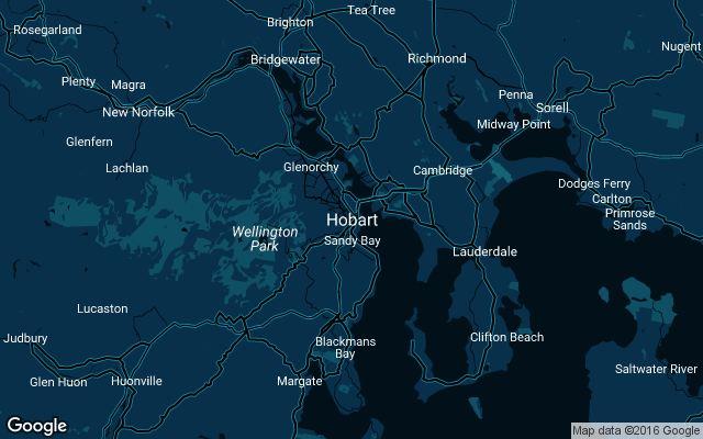 Coverage map for Uber in Hobart, Australia
