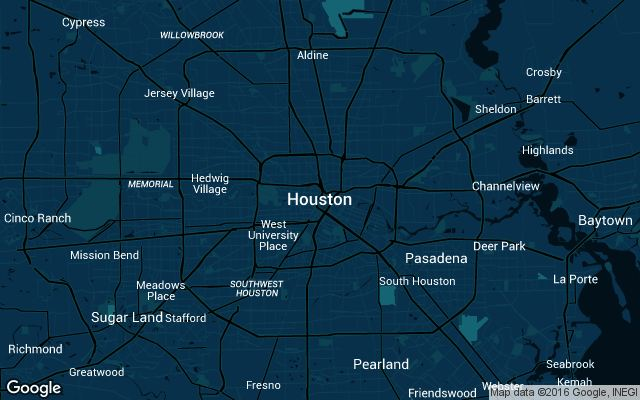 Coverage map for Uber in Houston, Texas