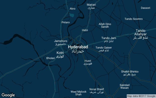 Coverage map for Uber in Hyderabad, Pakistan