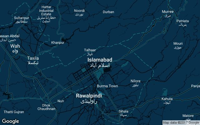 Coverage map for Uber in Islamabad, Pakistan