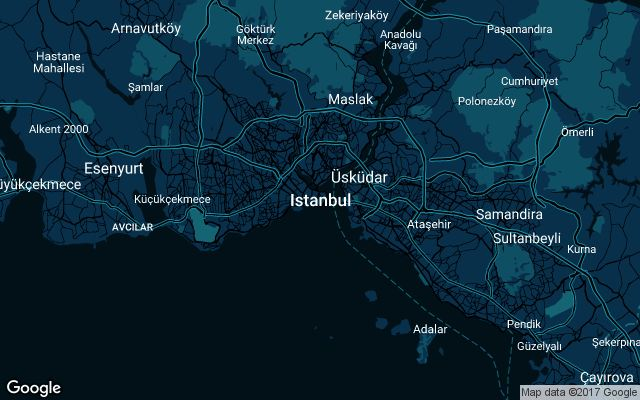 Coverage map for Uber in Istanbul, Turkey