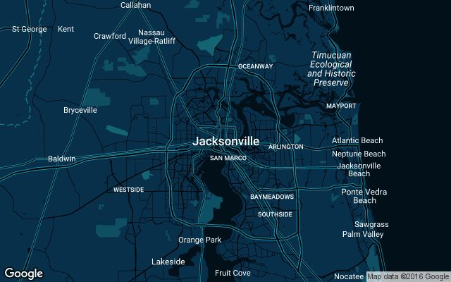 Coverage map for Uber in Jacksonville, Florida