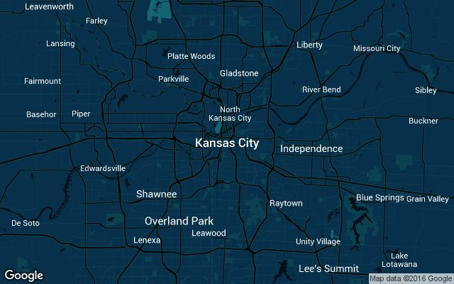 Coverage map for Uber in Kansas City