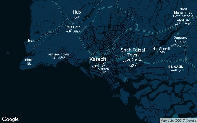 Coverage map for Uber in Karachi, Pakistan