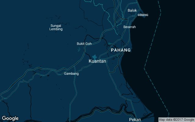 Coverage map for Uber in Kuantan, Malaysia