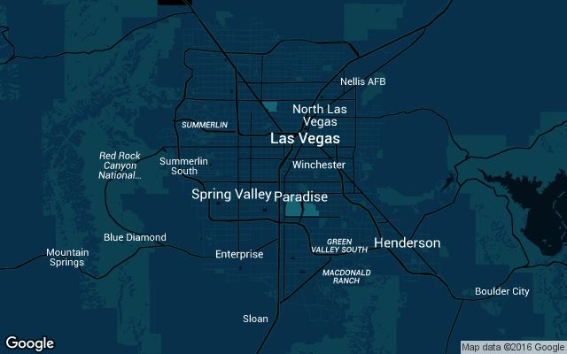 Coverage map for Uber in Las Vegas, Nevada