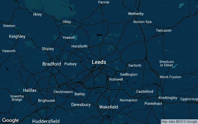 Coverage map for Uber in Leeds, England
