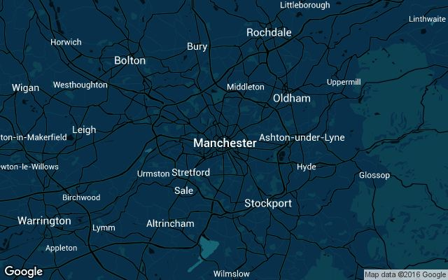 Coverage map for Uber in Manchester, UK