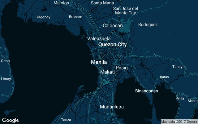 Coverage map for Uber in Manila, Philippines