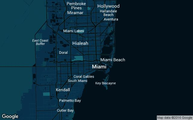 Coverage map for Uber in Miami, Florida