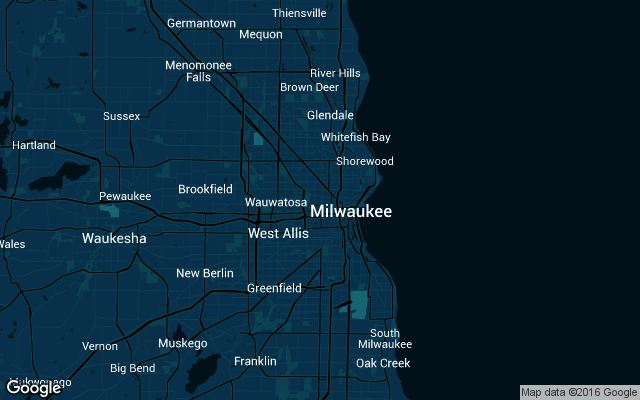 Coverage map for Uber in Milwaukee, Wisconsin