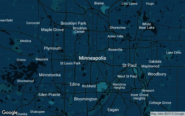 Coverage map for Uber in Minneapolis, Minnesota