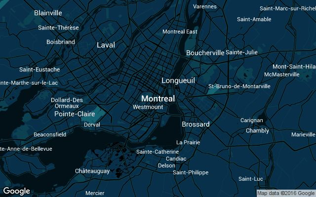 Coverage map for Uber in Montreal, Canada