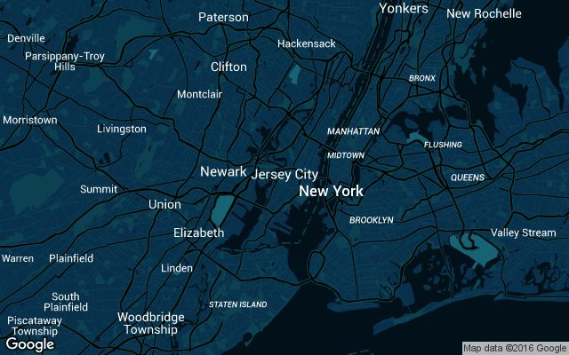 Coverage map for Uber in New Jersey