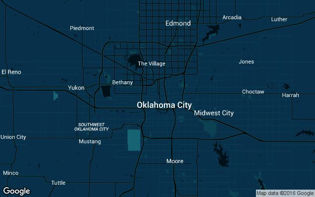 Coverage map for Uber in Oklahoma City, OK