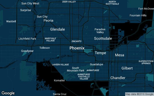 Coverage map for Uber in Phoenix, Arizona