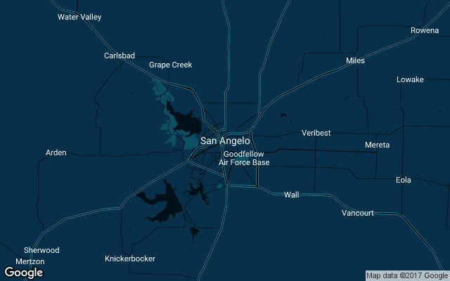 Coverage map for Uber in San Angelo, Texas