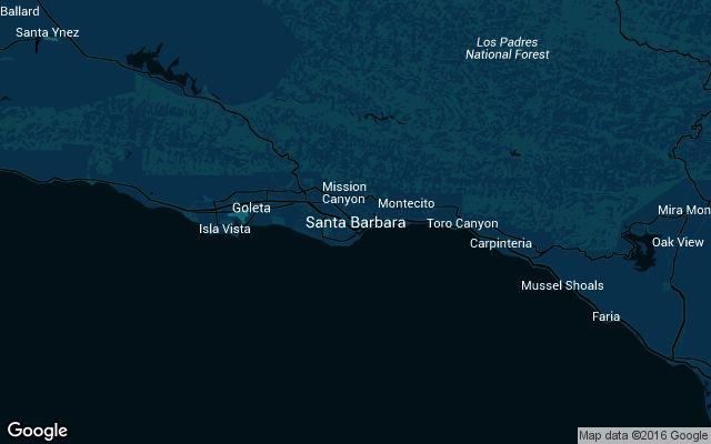Coverage map for Uber in Santa Barbara, California