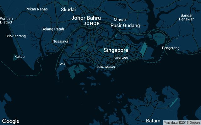 Coverage map for Uber in Singapore