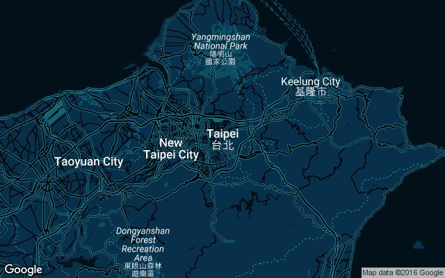 Coverage map for Uber in Taipei, Taiwan