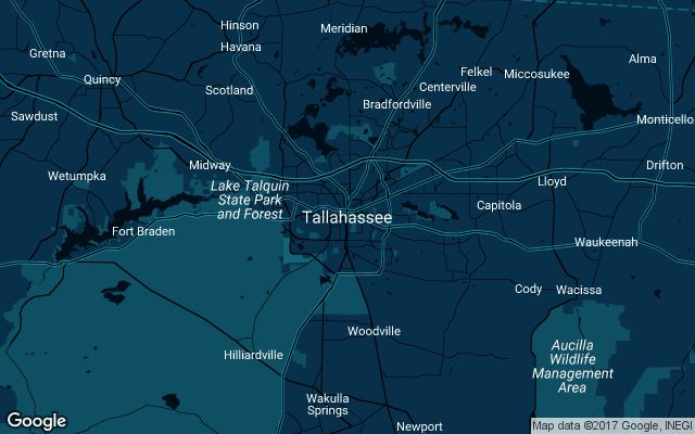 Coverage map for Uber in Tallahassee, Florida