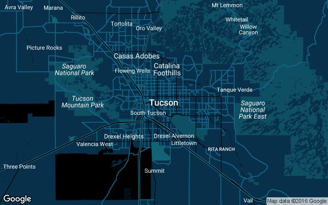 Coverage map for Uber in Tucson, Arizona
