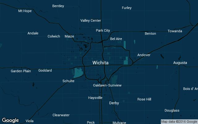 Coverage map for Uber in Wichita, Kansas
