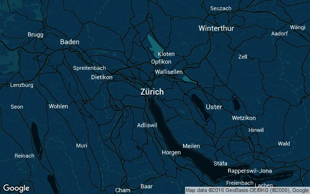 Coverage map for Uber in Zurich, Switzerland